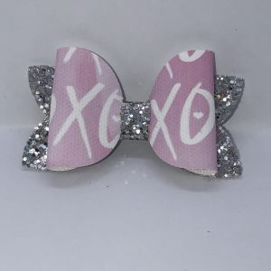 Silver Glitter And X And O Bow