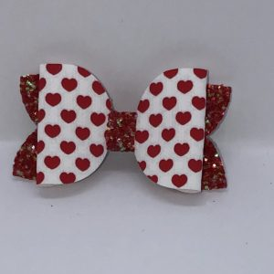 Red Glitter And Love Heart Bow