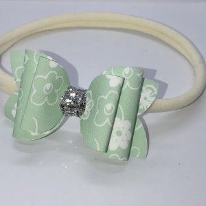 Mint Green Flowers Small Bow