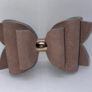 Blush Glitter Suede Bow