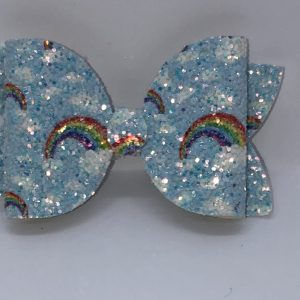 Blue Rainbow Glitter Bow