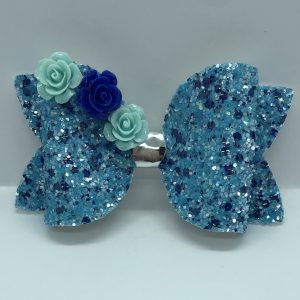 Blue Glitter Large Bow With Flowers