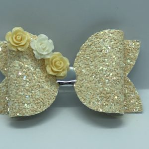 Yellow Glitter Large Bow With Flowers