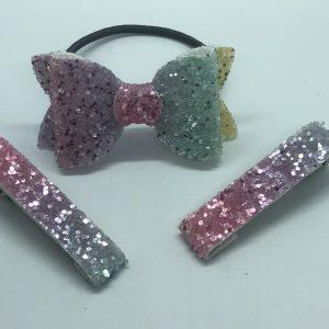 Rainbow Bow and Fringe Clips