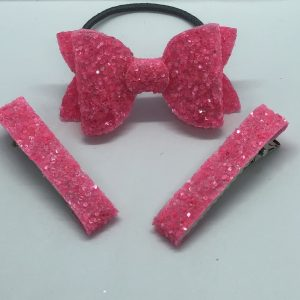 Hot Pink Bow and Fringe Clips
