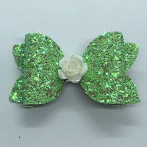 Green Glitter with Flower Medium Bow