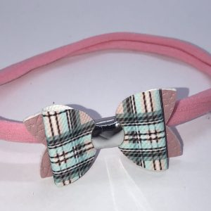 Pink and Blue Tartan with pink Leatherette Bow