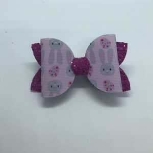 Bunnies and Pink Glitter Medium Bow