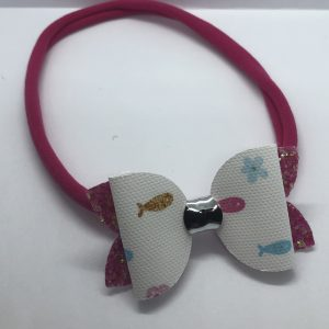 Fish and Pink Glitter Soft Headband Medium Bow