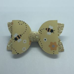 Bumblebee and Yellow Glitter Medium Bow