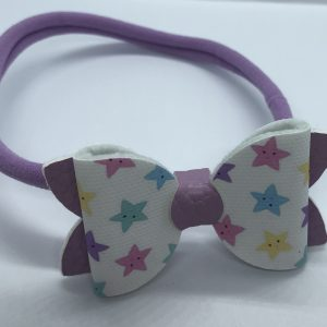 Lilac Leatherette And Stars Medium Bow