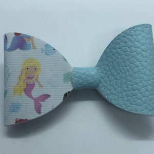 Half Blue Lestherette and Mermaid Bow