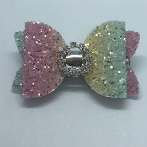 Rainbow Glitter Medium Bow