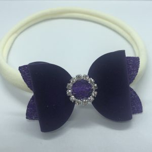 Purple Suede And Glitter Medium Bow