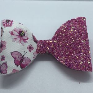 Pink Glitter and Flowers Bow