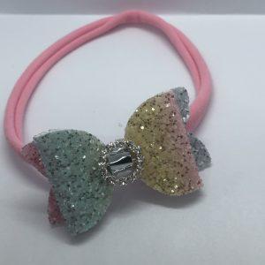 Rainbow Glitter Soft Headband Medium Bow