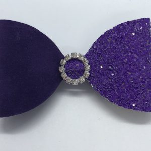 Purple Suede and Glitter Bow