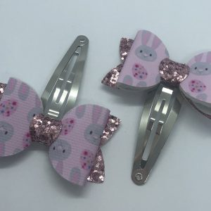 Bunnies and Pink Glitter Snap Clip