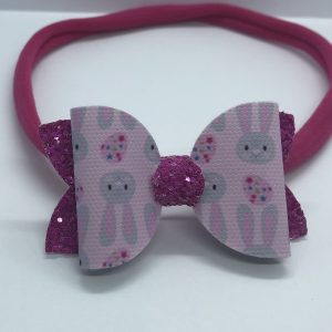 Bunnies and Pink Glitter Soft Hairband Medium Bow