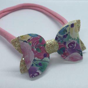 Flowers and Yellow Glitter Soft Headband Medium Bow