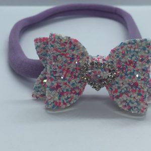 Pink Purple and White Glitter Soft Headband Small Bow