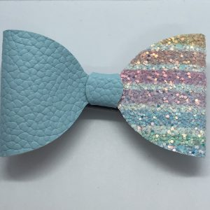 Half Blue Leatherette and Glitter Pastal Stripes