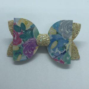 Flowers and Yellow Glitter Medium Bow