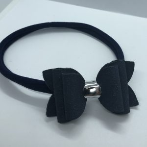 Navy Blue Glitter Suede Medium Soft Headband