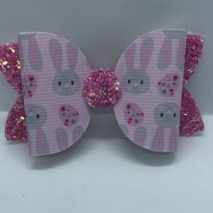 Pink Easter Bunny and Pink Glitter Medium Bow