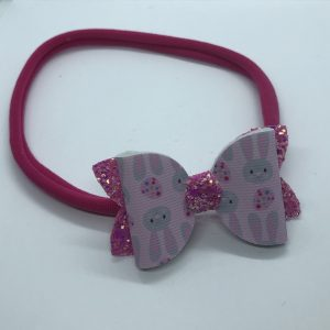 Pink Easter Bunny and Pink Glitter Medium Soft Hairband