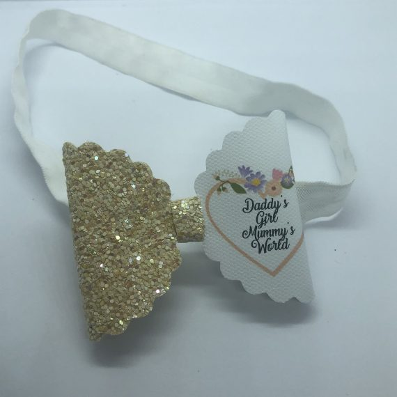 0-12 Month headband with Yellow Glitter and Quote