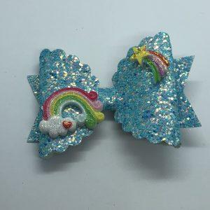 Blue Glitter with Rainbow and Star Embellishment Large Bow
