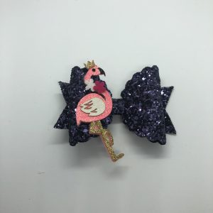 Navy Glitter with Flamingo Large Bow