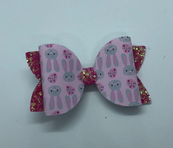 Pink Glitter and Bunnies Large Bow