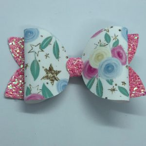 Pink Glitter and Flowers Large Bow