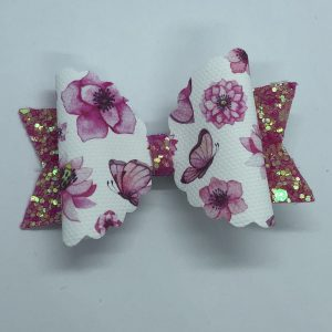 Pink Glitter, Flowers and Butterflies Bow