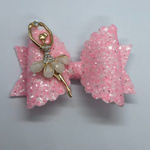 Pink Glitter and Ballerina Scalloped Large Bow
