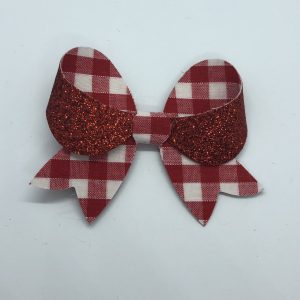 Red Gingham and Glitter Bow