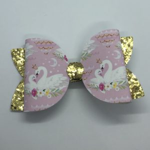 Swan and Gold Glitter Large Bow
