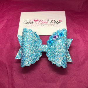 Aqua Blue Large Scalloped Bow