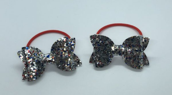 Silver, Red and Blue Glitter Bobbles