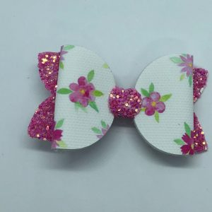 Flowers and Pink Glitter Medium Bow