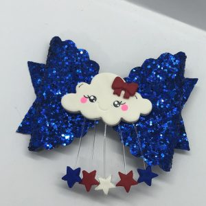 Blue Glitter and Stars Scalloped Large Bow