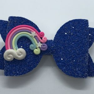 Blue Glitter with Rainbow Large Bow