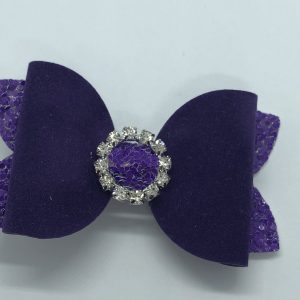 Purple Glitter and Suede Medium Bow