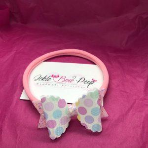 Spots and Pink Glitter Medium Scalloped Bow on Nylon Headband