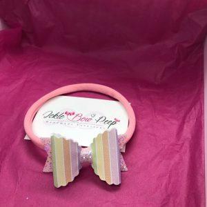 Stripes and Pink Glitter Medium Scalloped Bow on Nylon Headband