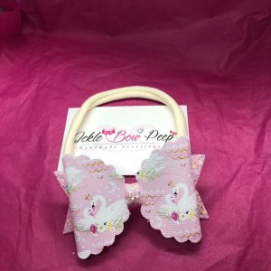 Swan and Pink Glitter Scalloped Large Bow on Nylon Headband