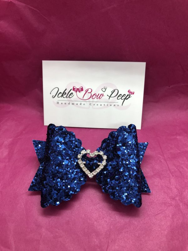 Navy Glitter Large Scalloped Bow