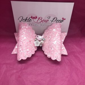 Pink Glitter with Bird Detail Large Scalloped Bow